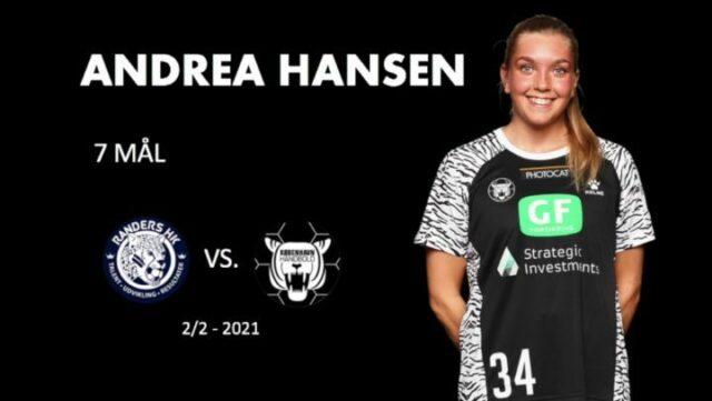 Vi runder påsken af med et sidste tilbageblik på en kanon spillerpræstation 🐣🐥 I dag genser vi Andrea Hansens præstation mod Randers 💪🏼 Vores højre fløj formåede at score de første 4 mål for København Håndbold, og samlet set blev det til 7 mål fra Andrea 🔥🐅 @andreaaagot præsenteres af KOJ Regnskabsservice #kbhbolddk #hansen34